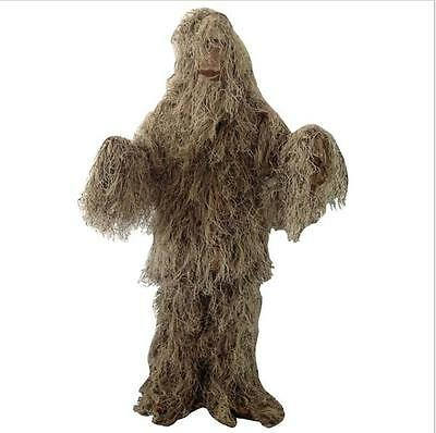Tactical Dark Earth Camouflage Camo Hood Veil Ghillie Suit Hunting Clothes Set