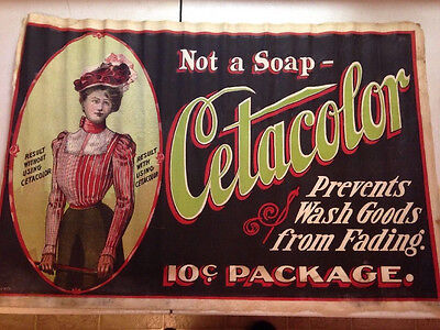 Vintage Sign Cloth 1890-1910 Not Metal Old Cetacolor Advertisement FREE SHIPPING