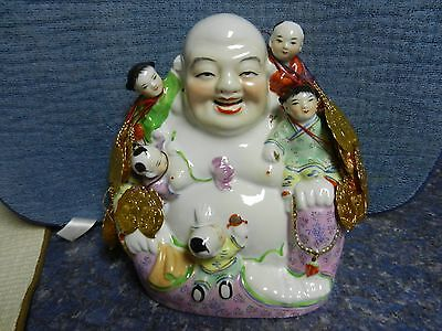 vintage chinese famille rose porcelain laughing buddha 5 children figurine