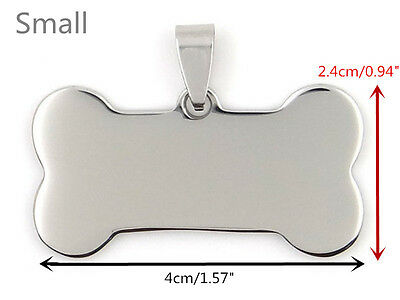 Cute Pet Dog Tags Stainless Steel Bone Cat Animal Name Necklace Only