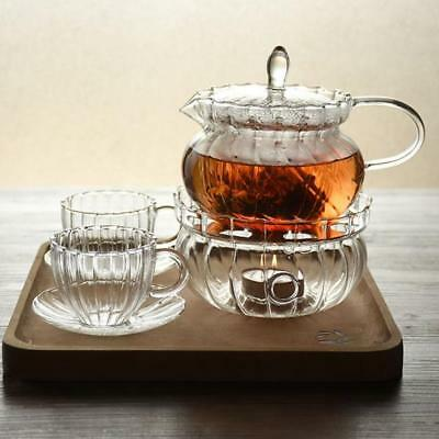 Heat Proof Thicken Glass Teapot Set Warmer Base for Tea Coffee Beverage Heating