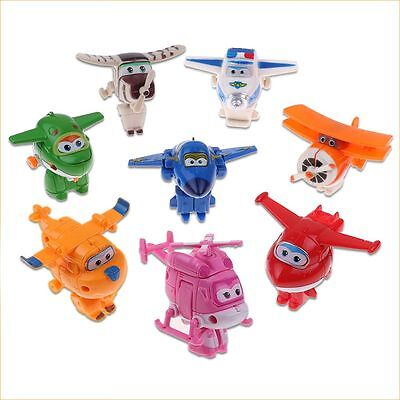 8Pcs/Set Super Wings Transforming Plane Toy Robot Korea TV Animation Character