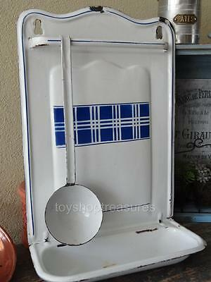 Antique Vintage French Utensil hanger with Ladle Wall - White Blue enamel