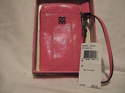 """Nwt Coach """"julia"""" Pink Patent Leather Universal Phone And Wallet Wristlet"""