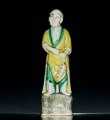 Fine Antique Chinese Porcelain Figurine Old Man W/ Fish