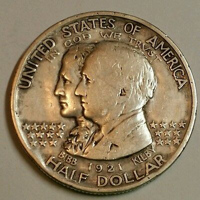1921 Alabama Commemorative Half Dollar, Better Date Commemorative 50 cent Silver