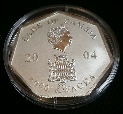 2004 Bank of Zambia 4000 Kwacha 23 Grams .999 Silver Coin Free Shipping!
