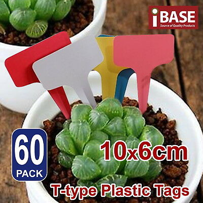 60x Plant Marker T-type Garden Labels Flexible Plastic Tags Nursey Seed 10x6 cm