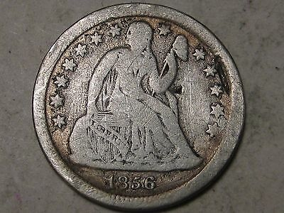 1856 SMALL DATE SILVER  LIBERTY SEATED DIME - WEAK LIBERTY -  12 PHOTOS  (c)