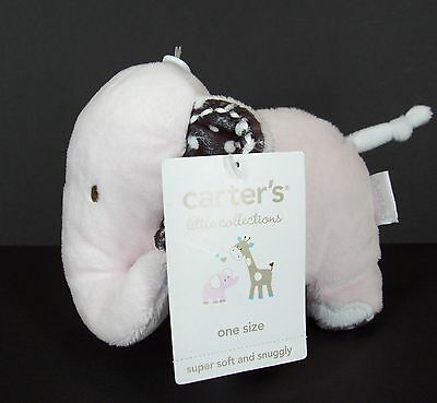 Carters NWT Pink Brown Polka Dot Elephant Hearts Soft Plush Stuffed Baby Toy