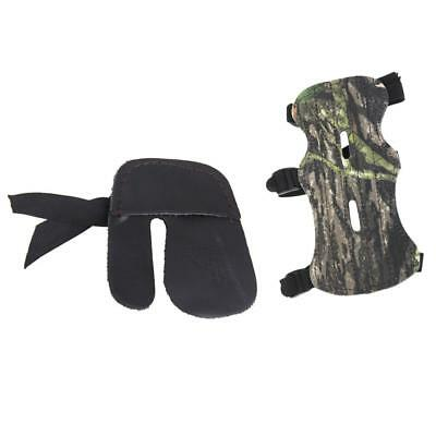 Archery Shooting Camo Leather 3 Straps Arm Guard & Finger Protect Glove