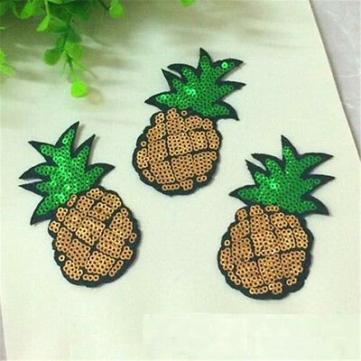 8CM Sequins Pineapple Cloth Applique Patch Clothing Embroidery Sewing Craft 1PC♫