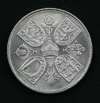 1953 Queen Elizabeth Coronation Five Shilling Coin UNC. + FREE UK P&P (GZ13)