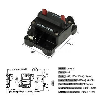 IZTOSS Circuit Breaker Protection Reset Switch 100A Waterproof for Car Boat I1O3