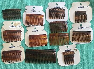 190) 12 New Vintage French Karina Tortoise Shell Hair Combs