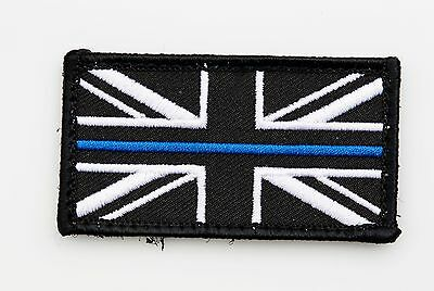 Thin Blue Line Police Small Union Jack Hook Loop Backed Badge Patch 70mm x 38mm