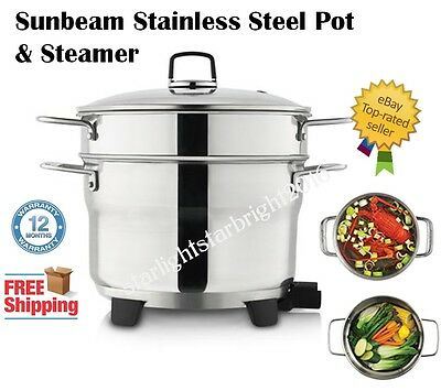 Electric Cooking Pot Vegetable Meat Steamer Sunbeam Kitchen Cookware Stainless