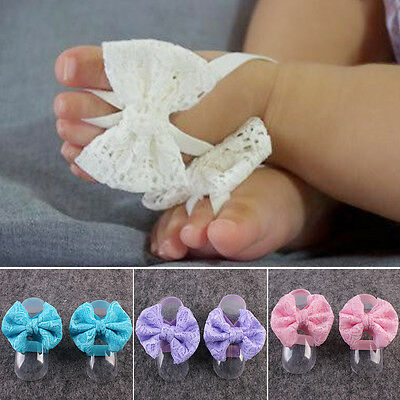 Toddler Baby Kids Cute Lace Flowers Foot Band Ties Barefoot Sandals Shoes