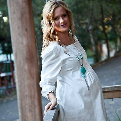 Maternity Casual Dress Shirt Pregnant Cotton Top Clothes Pregnancy Boho Dresses