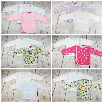 2 x Baby Boy Girl 100% Cotton Wrap Around Long SleeveTop Vest Jacket 0-6 Months