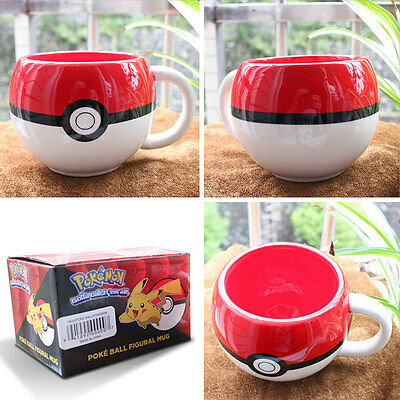 For Pokemon GO Poke Ball 3D Figural Handgrip Ceramic Mug Coffee Cup Gifts new