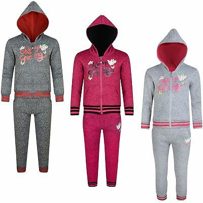 Girls Tracksuit Keep Going Print Zipped Hooded Top Jogging Bottoms 3-14 Y