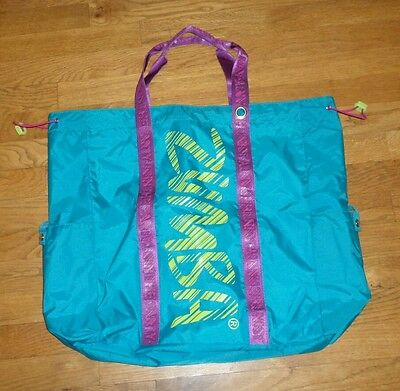 "Teal Zumba Fitness JUMBO 22""x18"" TOTE BAG Feel The Music NWOT"