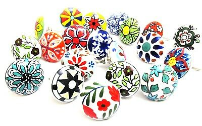 6 PACK SET Vintage Shabby Chic Ceramic Knobs Drawer Cupboard Pull Knob Handle