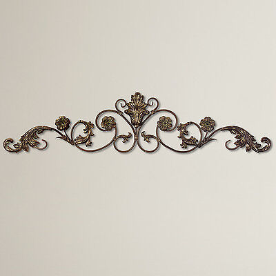 Large Vintage Victorian Decorative Scroll Wrought Iron Metal Wall Grille  Plaque