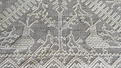 "Antique lace figural Italian tablecloth 142""×37"" handmade"