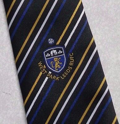 WEST PARK LEEDS RUFC TIE RUGBY UNION FOOTBALL CLUB BLACK GOLD STRIPED 1990s
