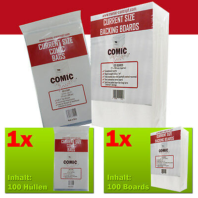 COMIC CONCEPT SET 100x Current Size Bags + 100x Current Size Boards
