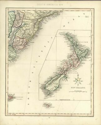 New Zealand lovely scarce 1848 antique Gilbert Archer antique decorative map