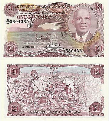 Malawi 1 Kwacha Banknote 1988 Uncirculated Condition Cat#19-B-0438