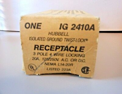 Hubbell IG2410A Twist-Lock Isolated Ground Receptacle Outlet 125V/250V 20A b98