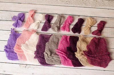 Newborn Knitted Mohair Romper and Headband Set Photography Photo Prop Baby Girl