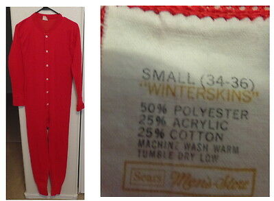 "Vintage  Sears Red long  Johns Underwear ""Winterskins"" 34-36 Sears Mens Store"