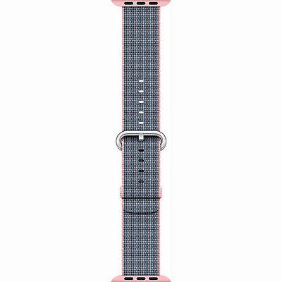 Genuine Apple 42mm Watch Woven Nylon Band, Light Pink/Midnight Blue - New Other!