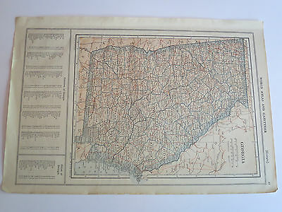 Antique Hundred Year Old Atlas Map Of Georgia & Hawaii, Printed in 1914