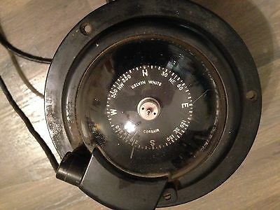 Antique sperical Corsair ships compass by Kelvin-White. Working