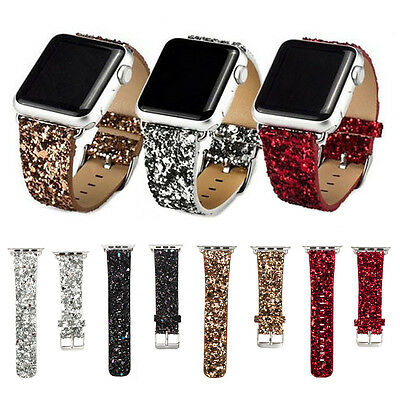 Bling Glitter Leather Loop Steel Lock Band Strap for iWatch Series 2 1 38/42mm