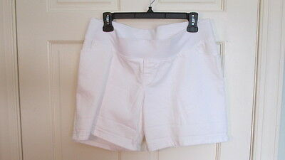 LIZ LANGE Maternity White Denim Shorts-Under the Belly-size Medium (8-10) NWOT