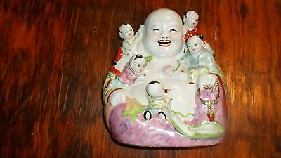 Antique Vintage Chinese Porceloin Happy Laughing Buddha with Children