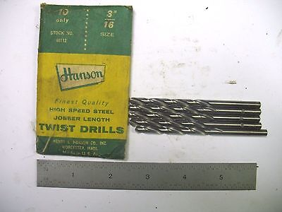 "5- New Usa Made Hanson 3/16""  Drills"