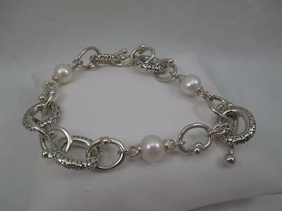 "Gorgeous Michael Dawkins, Sterling Silver & Pearl Oval Link Bracelet, 7"",  QC14"