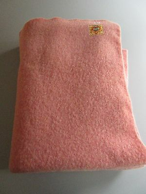 """Vintage : Pink Blanket 58"""" X 78""""  AYERS Pure Wool  Canadian Products"""