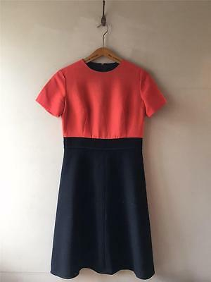 True Vintage 1960s Dereta Red Black Wool Mod Dress UK10