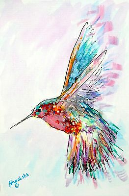 """""""Abstract Hummingbird H11""""  ACEO  Art Print 3.5"""" X 2.5"""" by Napolske Artist"""