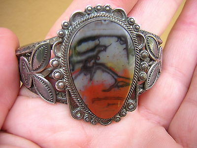 Vintage Native American Indian Sterling Silver Picture Agate Cuff Bracelet