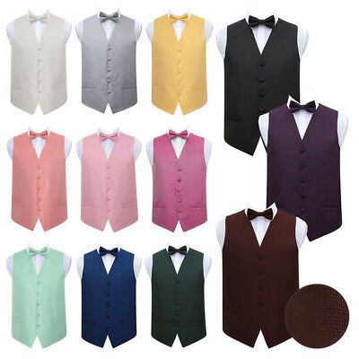 "DQT Premium Greek Key Men's Wedding Waistcoat Vest & Bow Tie Set 36""-50"" (S-5XL)"